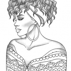 Printable coloring page black girl portrait and clothes | Etsy