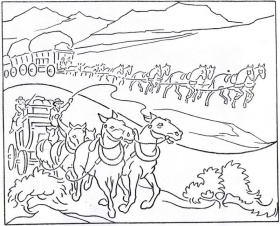 Kid coloring pages of prairie schooners westwardho for Lds pioneer coloring pages
