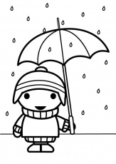 Coloring page child with umbrella - img 26885.