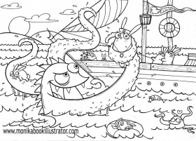 Sea Monster Coloring Pages Coloring Pages For Adults Coloring