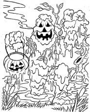 Scary Pumpkins Halloween Coloring Pages