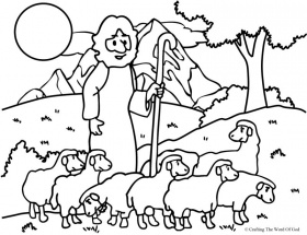 sheep and shepherd coloring pages
