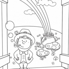 Pot Of Gold, Harp And Leprechaun Hat Coloring Pages - Holiday