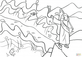 Moses Parting Sea coloring pages