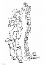 Coloring Page playing with building blocks - free printable ...