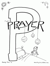 "P is for Prayer"" Bible Alphabet coloring page"