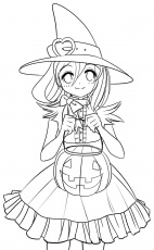 Halloween Girl Coloring Pages : Halloween Coloring Page Cute ...