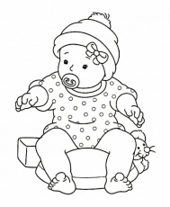 Baby Girl Sitting with Pacifier | Coloring Pages