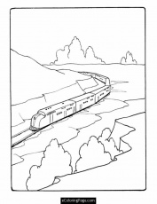 Train Through the Mountains Printable Coloring Page