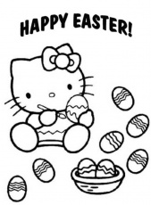 Happy Hello Kitty Decorate Easter Egg Coloring Pages - Easter