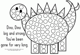 Dino do a dot art coloring page