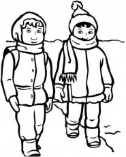 Print Boy And Girl With Winter Clothes Coloring Page or Download