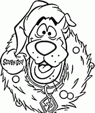 Download Scooby Doo And Wreath Free Coloring Pages For Christmas