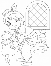 Baby Krishna the butter thief coloring pages | Download Free Baby