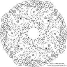 Free Mandala Coloring Page with the Sun, Moons and Stars