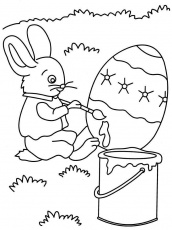 Rabbit painting Eggs coloring pages printable | Coloring Pages