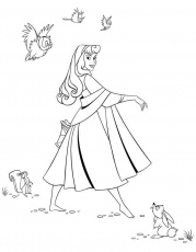 Princess Sleeping Beauty With Sparrows Coloring Pages