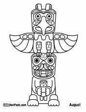 totem pole wolf Colouring Pages