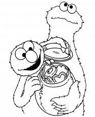 Cookie Monster Share Cookies Coloring Page - Cookie Monster
