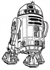 Cute R2D2 Droid in Star Wars Coloring Page | Batch Coloring
