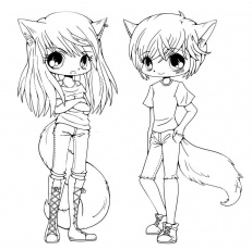 Cute Anime Chibi Girls Coloring Pages (With images) | Cartoon ...