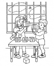 Two Kids Celebrating Veterans Day Wood Block Coloring Page ...