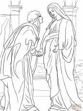 An angel visits mary color page coloring home for Mary visits elizabeth coloring page