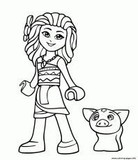 Lego Moana And Pig Pua From Disney Coloring Pages Printable