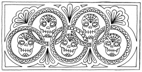 Girl Sugar Skull Colouring Page