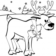 raindeer waiting for santa free christmas coloring page: raindeer