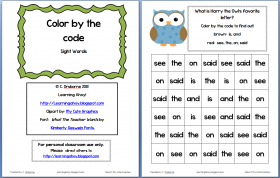 Sight words: Color by code (Freebie!) |
