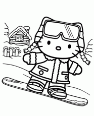 Hello Kitty on snowboard printable image - Topcoloringpages.net