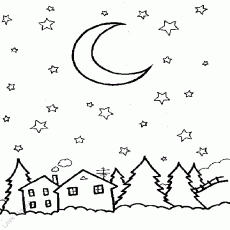 Night Sky Coloring Pages Png & Free Night Sky Coloring Pages.png  Transparent Images #76391 - PNGio
