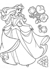 Princess Aurora Dancing with Flowers Coloring Pages: Princess ...