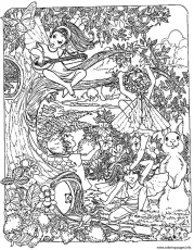 Print adult fantasy child elves Coloring pages