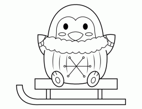 Printable Penguin and Sled Coloring Page
