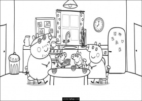 Peppa Pig And Family Eating Coloring Page For Kids Printable