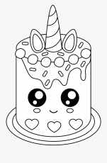 Free Cute Unicorn Cake - Unicorn Cake Coloring Pages , Free Transparent  Clipart - ClipartKey