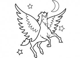 Online coloring pages Coloring page Unicorn in the night sky Animals,  Download print coloring page.