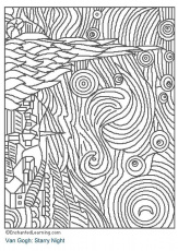 Coloring page Starry Night - img 3204.