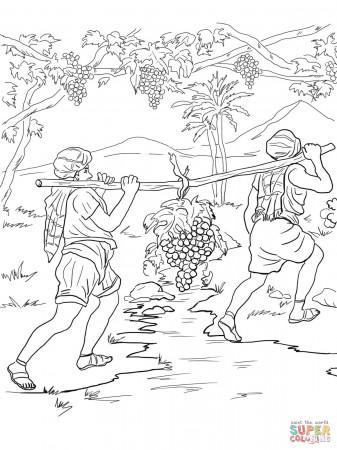 joshua and caleb coloring pages - joshua and caleb bible story coloring page coloring home