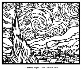 Van gogh starry night large - Masterpieces Adult Coloring Pages