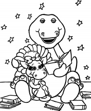 awesome Barney Reads To Baby Bop Coloring Page | Coloring pages ...