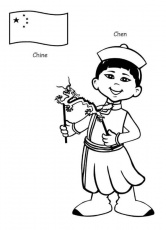 Chen Chinese Kid from Around the World Coloring Page: Chen Chinese ...
