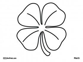 4 leaf clover coloring page