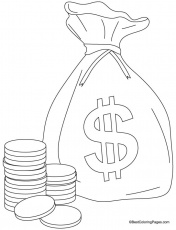 A bag of coins coloring pages | Download Free A bag of coins