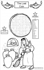 The Lost Coin word seach puzzle coloring pages