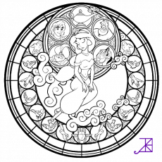 Giselle Stained Glass -line art- by Akili-Amethyst on deviantART