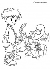 DIGIMON coloring pages - Izzy and Tentomon