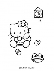 HELLO KITTY coloring pages - Hello Kitty coloring the Easter's eggs
